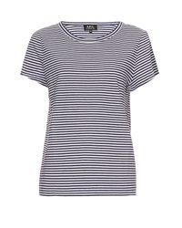 A.P.C. - White Theo Striped Cotton-jersey T-shirt - Lyst