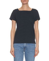 A.P.C. - Black East Coast Striped Cotton-jersey T-shirt - Lyst