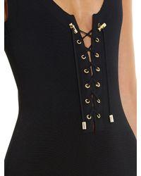 Balmain - Black Lace-up Midi Dress - Lyst