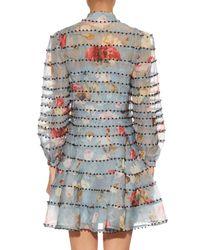 Zimmermann - Blue Havoc Embellished Silk-organza Dress - Lyst