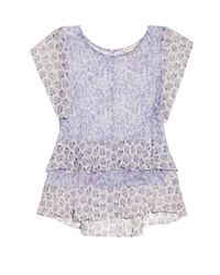 Rebecca Taylor | Blue Floral-print Silk-georgette Top | Lyst