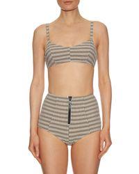 Lisa Marie Fernandez Green Genevieve Striped Seersucker Twin-set Bikini