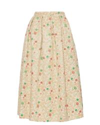 Rochas - Natural Brocade Pleated Midi Skirt - Lyst