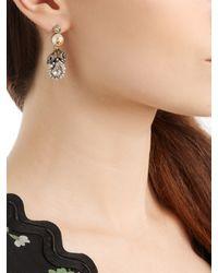 Gucci | Metallic Pearl-effect Embellished Flower Earrings | Lyst