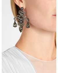 Oscar de la Renta - Gray Bow Crystal-embellished Earrings - Lyst