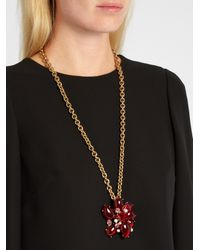 Oscar de la Renta | Multicolor Flower Crystal-embellished Necklace And Brooch | Lyst