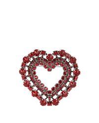 Lanvin - Red Heart Crystal-embellished Brooch - Lyst