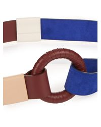 Jonathan Saunders - Purple Contrast Leather And Suede Waist Belt - Lyst