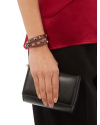 Valentino - Brown Rockstud Leather Wraparound Bracelet - Lyst