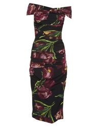 Dolce & Gabbana | Multicolor Tulip-print Off-the-shoulder Stretch-silk Dress | Lyst