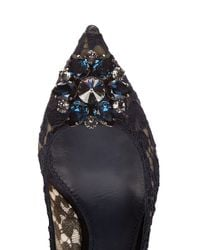 Dolce & Gabbana | Black Crystal-embellished Lace Pumps | Lyst