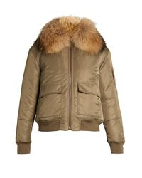 Yves Salomon | Blue Fur-lined Bomber Jacket | Lyst