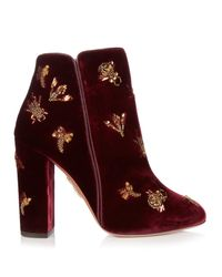 Aquazzura | Red Fauna Insect-embellished Velvet Ankle Boots | Lyst