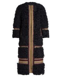 RED Valentino | Blue Embroidered Shearling Coat | Lyst