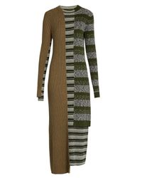 Maison Margiela | Multicolor Striped Mixed-knit Wool-blend Dress | Lyst