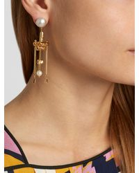 Lucy Folk - Multicolor Talking Heads Pearl And Gold-plated Earrings - Lyst