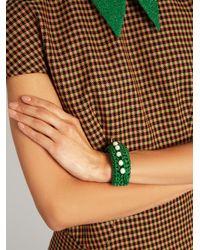 Lucy Folk - Green Pearl Diver Slap Crochet And Pearl Bracelet - Lyst