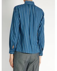 Trademark - Blue Hardin Striped Cotton Shirt - Lyst