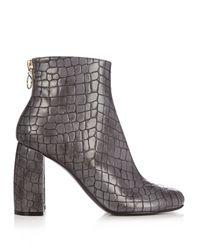 Stella McCartney | Gray Block-heel Faux-leather Ankle Boots | Lyst