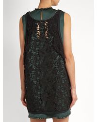 N°21 - Green Layered Satin And Lace Dress - Lyst