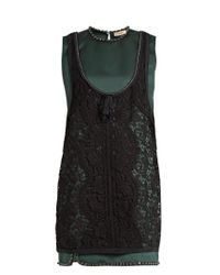 N°21 | Green Layered Satin And Lace Dress | Lyst
