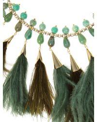 Rosantica By Michela Panero - Green Faggio Quartz And Feather Necklace - Lyst