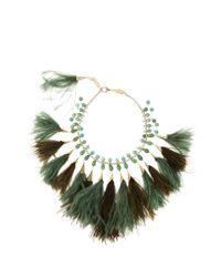Rosantica By Michela Panero | Green Faggio Quartz And Feather Necklace | Lyst