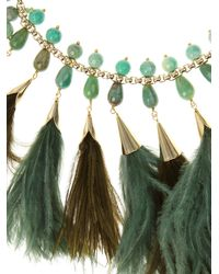 Rosantica By Michela Panero | Green Faggio Quartz And Feather Necklace | Lyst