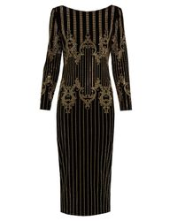 Balmain | Black Stud-embellished Velvet Midi Dress | Lyst