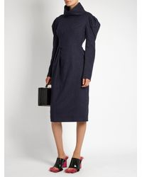 Awake - Blue Funnel-neck Pinstriped Brushed-cotton Dress - Lyst