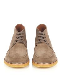 Tomas Maier - Gray Lace-up Suede Boots for Men - Lyst