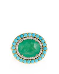 Irene Neuwirth - Multicolor Diamond, Emerald, Turquoise & Yellow-gold Ring - Lyst