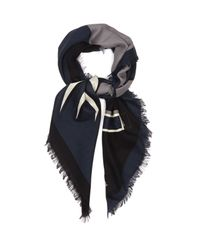 Fendi - Gray Faces Silk And Wool-blend Scarf for Men - Lyst