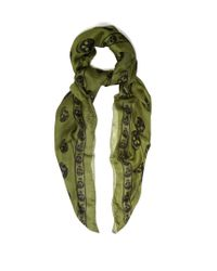 Alexander McQueen | Green Skull-print Silk-chiffon Scarf for Men | Lyst