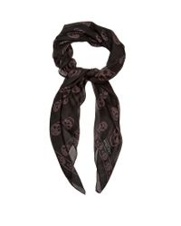Alexander McQueen | Black Skull-print Silk-chiffon Scarf for Men | Lyst