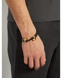 Alexander McQueen - Multicolor Double Twisted-leather Bracelet for Men - Lyst