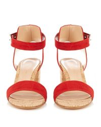 Gianvito Rossi - Red Rikki Cork Block-heel Sandals - Lyst