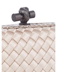 Bottega Veneta - Multicolor Knot Satin And Water-snake Clutch - Lyst