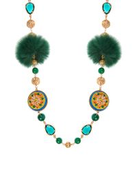 Dolce & Gabbana | Green Daisy Fur And Crystal-embellished Necklace | Lyst