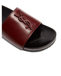 Saint Laurent - Multicolor Joan Leather Slides - Lyst