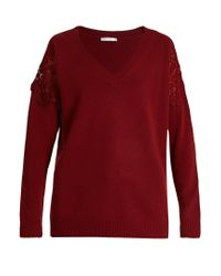 Chloé | Blue Lace-insert Wool And Cashmere-blend Sweater | Lyst