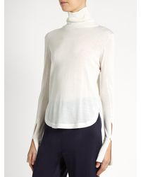 Chloé | White Roll-neck Wool, Silk And Cashmere-blend Sweater | Lyst
