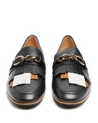 Tod's - Black Gomma Fringed Leather Loafers - Lyst