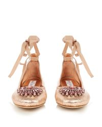 Jimmy Choo - Multicolor Grace Embellished Leather Ballet Flats - Lyst