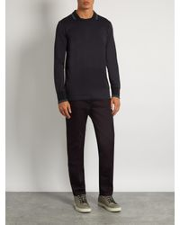 Bottega Veneta | Black Long-sleeved Contrast-panel Polo Shirt for Men | Lyst