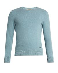 Burberry | Blue Waffle-knit Cashmere Sweater for Men | Lyst