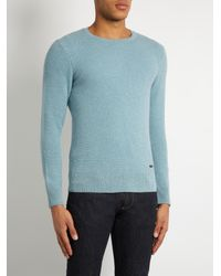 Burberry - Blue Waffle-knit Cashmere Sweater for Men - Lyst