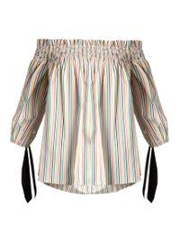Caroline Constas   Multicolor Lou Off-the-shoulder Striped Cotton Top   Lyst