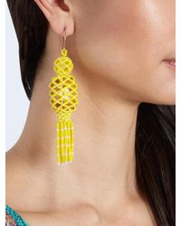 Etro - Yellow Bead And Stone-embellished Tassel Earrings - Lyst