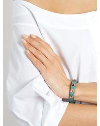 Valentino - Green Rockstud Small Leather Bracelet - Lyst